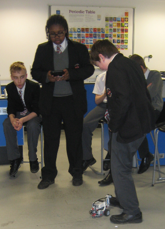 Picture of a Year 8/9 group working with the Lego Rovers