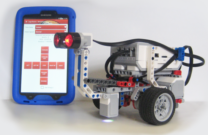 Picture of a Lego Rover with an Android Tablet displaying the Interface